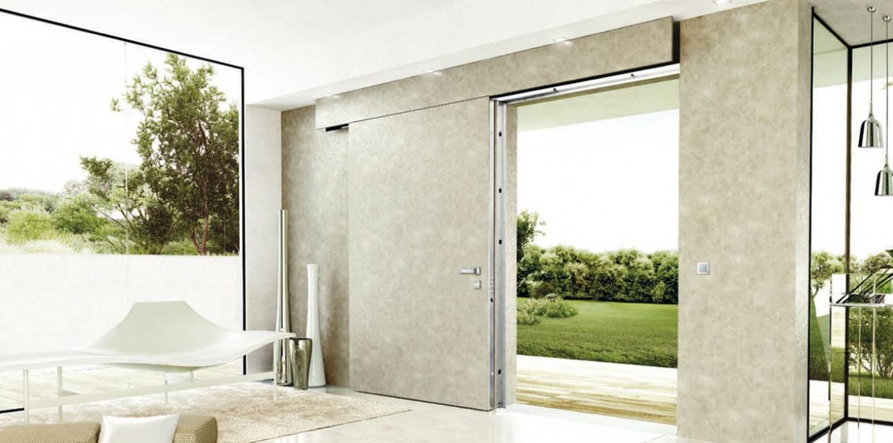 Flush-with-wall sliding door